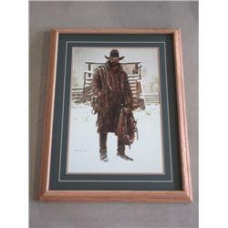 "Signed Bama 86 Cowboy Print- 27""W X 34""H"