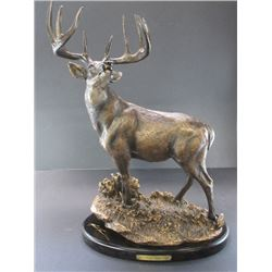 """Signed Mark Pearce Resin Whitetail Mount- """"Steadfast""""- Ducks Unlimited 808/3500- 14""""L X 8""""W X 21""""H"""