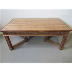 """Cherry and Maple Desk- 6 Legged- Carved- Dovetailed- 38""""W X 71""""L X31""""H"""