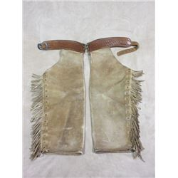 """Marked TH Farra John Day Ore Step In Chaps- Stamped Belt- Fringed- 36.5""""L"""