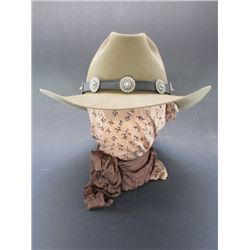 Buffalo Gal Hatters Jackson Montana Hat-  Size 7.25- Nickel Silver and Turquoise Hatband