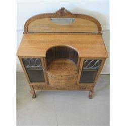 Mirrored Quarter Sawn Oak Buffet- Claw Feet- Leaded Glass- Original Hardware- Dove Tailed