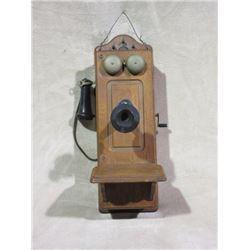 Oak Wall Telephone- Crank