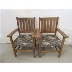 2 Oak Mission Style Chairs- Recently Upholstered