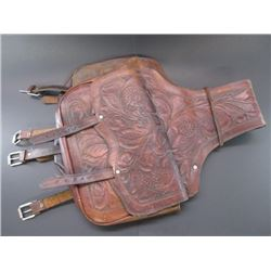 """Marked S. Garcia Mexico Fully Leaf Carved Saddle Bags- 14""""W X 21""""L"""