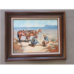 """Original Signed Frank Adams Oil on Board Painting- 32""""W X 26""""H"""