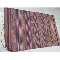 """Navajo Wool Blanket- Hand Woven in Mexico- Fringed- Some Damage on Edge- 112""""L X 72""""W"""