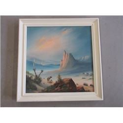 """Signed Jonz Oil on Canvas Painting- SW Wolf Scene- 29"""" X 29"""""""