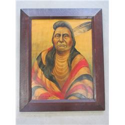"""Signed L ShipShee """"Chief Joseph Nez Perce""""Oil Painting On Canvas Board- 28.5""""W X 35.5""""W"""