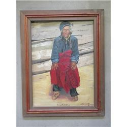 """Signed Alfred E Peason """"Chief Swift Bear""""  Oil on Canvas- 28.5""""W X 36.5"""""""