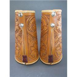 """Marked C Schwartz Saddler Fully Carved Cuffs- Unworn- Exquisite- 8.5""""L"""