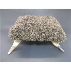 "Buffalo Horn Footstool- 16""L X 13""W X 7""H"