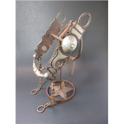 Unmarked Silver Inlaid Ring Bit- Wyoming Cheek Halfbreed Mouth- Slobber Bar- Rein Chains- Complete