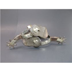 """Marked Kelly Bros Silver Overlaid Spurs- Heart Buttons- .8"""" Bands- 2.25"""" Shanks- 8 Point Rowels"""