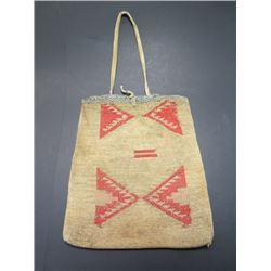 """Corn Husk Possibles Bag With Carrying Strap- Circa 1920- 10""""H X 8.5""""W"""