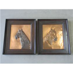 "2 Marked GENEE Copper Horse Embossed Pictures- 20.5""H X 18""W"