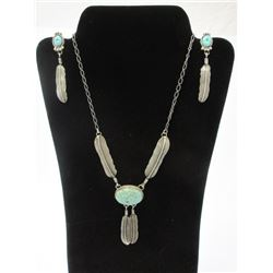 Matching Sterling and Turquoise Necklace and Earrings- Genuine Indian Handcrafted
