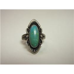 Unmarked Sterling and Turquoise Ring