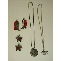 2 Necklaces and 2 Sets of Earrings- Horse Figure Necklace is Marked Sterling