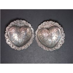 "Marked F Schultz USA Sterling Engraved Domed Heart Conchos- 2.25""- Scalloped"