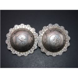 "Marked Sterling Engraved Domed Conchos- 2""- Scalloped"