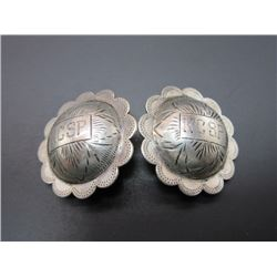 "Marked Sterling Engraved Domed Conchos- Marked KCSP- 1.6""- Scalloped"