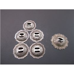 "6 Marked Sterling Saddle String Conchos- 1.5""- Scalloped"
