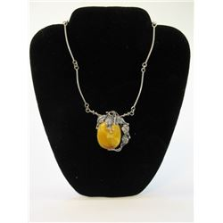 """Unmarked Sterling and Yellow Agate Necklace- 8.5""""L"""