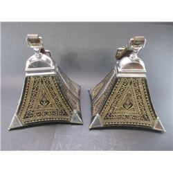 """Unmarked Mongolian Parade Stirrups- Stainless and Wood- 9""""H X 9.5""""W"""