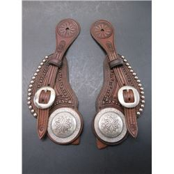 """Marked F Schultz Victor MT Spur Straps- Marked F Schultz USA Sterling 2"""" Domed Engraved Conchos"""