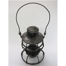 """Marked NPRR Safety First Railroad Lantern- Embossed Glass- 10.5""""H X 7""""W"""