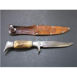 "Marked Edge Brand Solingen Germany Knife- Sheath- 4.75"" Blade- 4.5"" Handle"