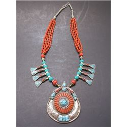 """Turquoise , Coral and Nickel Silver Necklace- 14"""""""