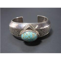 Marked E Turquoise Bracelet- Silver Overlaid