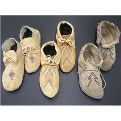 3 Pairs Contemporary Beaded Moccasins