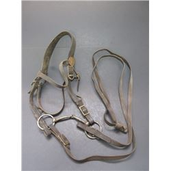 Old Us Cavalry Headstall With Military Conchos- Marked N8 Snaffle Bit- Reins