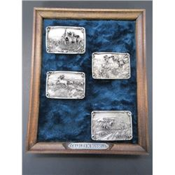 4 Marked Siskiyou Buckle Co Charlie Russell Belt Buckles- Pewter- Limited Edition of 5000