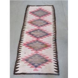 """Wool Navajo Blanket- 58"""" X 24.5""""- Slight Wear Damage"""