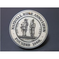 """Ivory NRA Life Member Pass Medallion- Founded 1860- 1.6""""- Signed By Mr. Henry Hamilton #1878"""