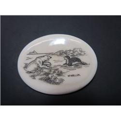 """Alaskan Walrus Ivory Marked W Walluk Pin- Scrimshawed- 1.75"""" X 1.25"""""""