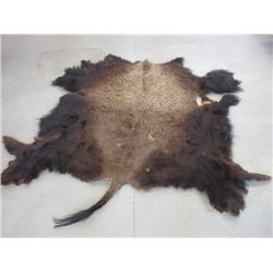 """Tanned Buffalo Hide- Good Hair- 96""""L X 80""""W- Not Including Tail"""