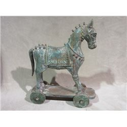 "Wooden Horse on Wheels- 30""L X 10.5""W X 38""H"