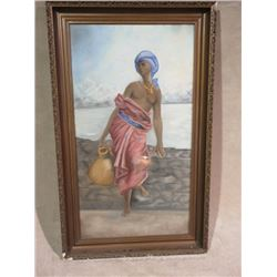 "Signed RA Hohn Print- Slave Girl In Chains- 46"" X 28""- Minor Damage on Frame"