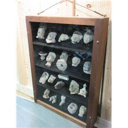 Shadow Box of 21 Mayan and Aztec Artifacts- Recovered During Teddy Roosevelt's Archaeological Exped