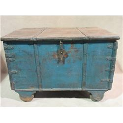 "Painted Brides Trunk- 38""W X 27""D X 27""H- Nice Primitive Piece"