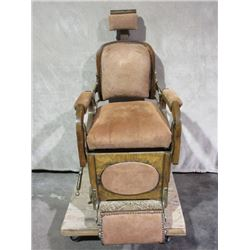 Suede Barber Chair- Koken Barber Supply Co. St. Louis- Refurbish- Adjustable Headrest