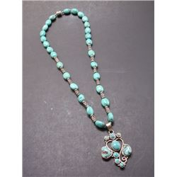 Marked 925 and Turquoise Necklace- 13""