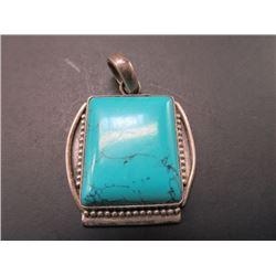 Marked 925 and Turquoise Pendant- 1""