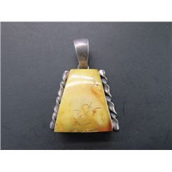Marked 925 and Agate Pendant- 1""