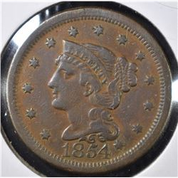 1854 LARGE CENT, XF